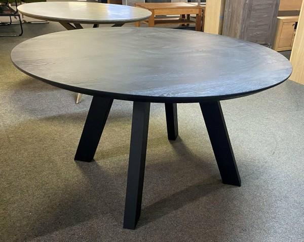 Tisch , Esstisch , Rund , Runder Tisch , Massiv , Teakholz Schwarz