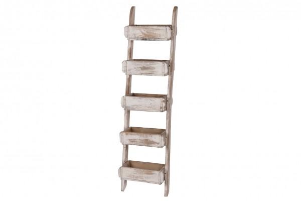Leiter, Pflanzenleiter aus Holz natur, Leiter mit Pflanzenkübel
