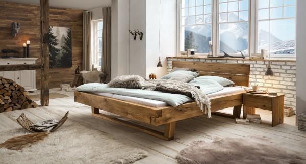Balkenbett Eiche Massiv , Bett , Doppelbett , Modell Skagen - Ja.