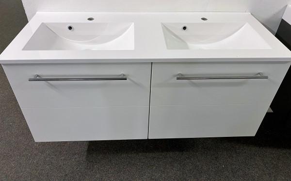 """Waschtisch """"Mailand 120 cm , Doppelbecken , Weiß Hochglanz Softclose"""