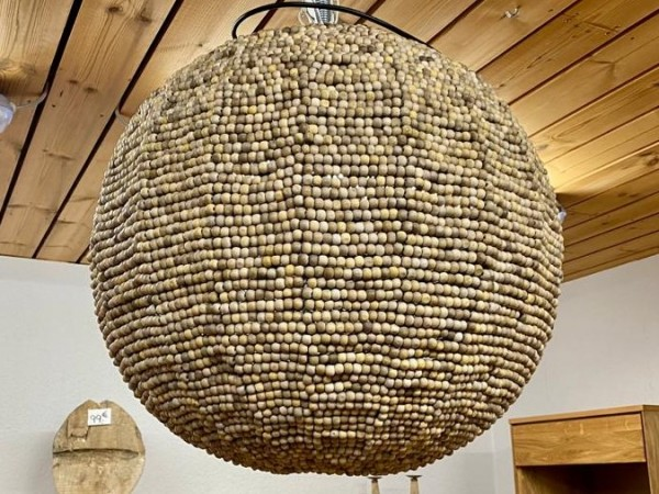 Lampe , Deckenlampe , Hängelampe aus Holzkugeln , Orientalisch