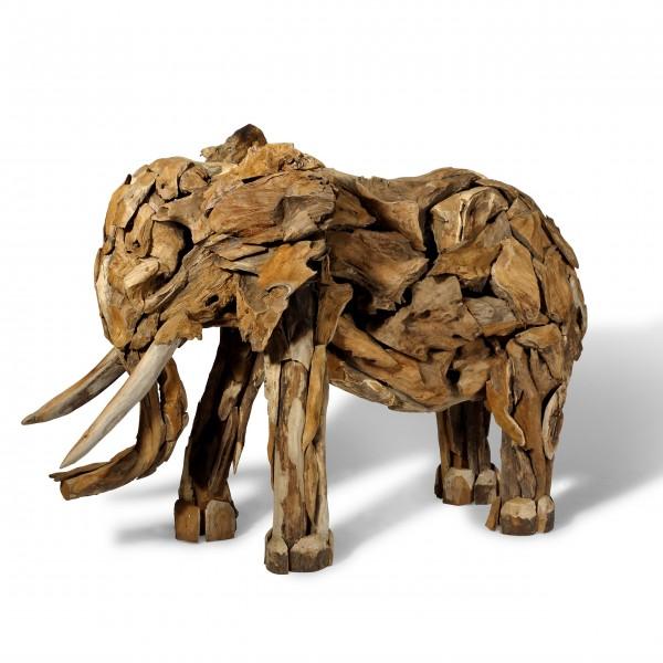 Elefant Teakholz Skulptur