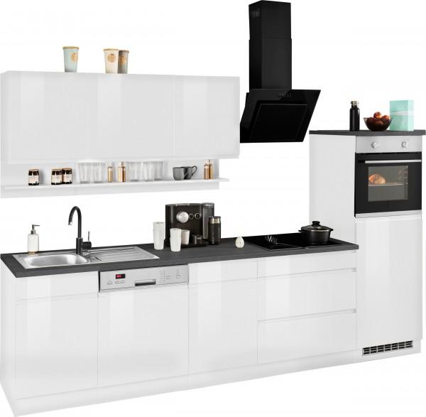 Küche , Küchenzeile , Küchenblock , Justine 300 cm , inclusive Elektrogeräte und Spülbecken Edelstah