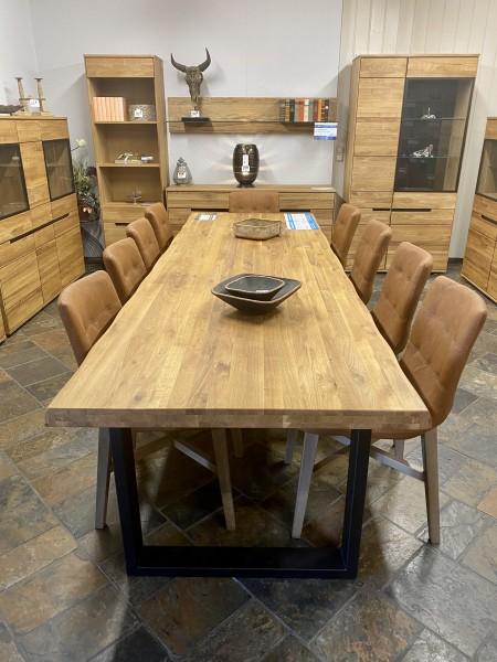 Baumkantentisch Eiche 300 cm , Eiche massiv geölt , 5 verschiedene Gestelle wahlweise !