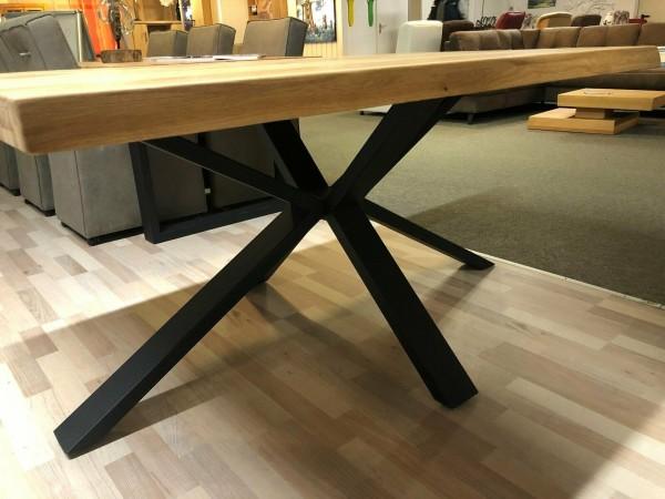 Baumkantentisch Esstisch Eiche massiv 240 x 100 cm , Spider Gestell Schwarz