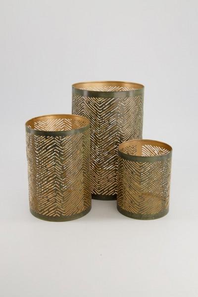 3er Set Teelicht, Windlicht, Kerzenhalter Metall gold, Tischdeko