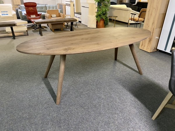 Tisch , Esstisch Eiche massiv , Esstisch Oval Eiche gebürstet , Braun