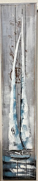 Holzbild 3 - D mit Metallapplikationen , handbemalt , Regatta , Maritim