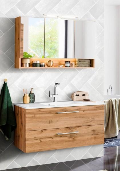 Bad Set Sara , Eiche Dekor , 2 - teilig , Spiegelschrank und Waschtisch