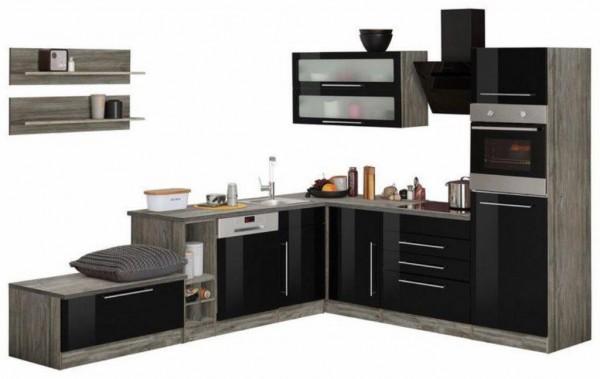 """Küchenzeile """"Samson"""" Winkelküche inklusive E-Geräte – Schwarz / Eiche Vintage"""